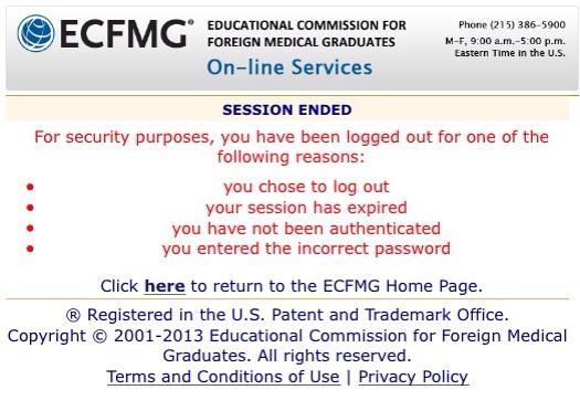 ECFMG login : session has ened error-image_1434449639758.jpg