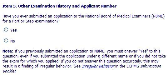 Question/Item Number 5; Have you ever submitted an application to the NBME?-nbme-application.jpg